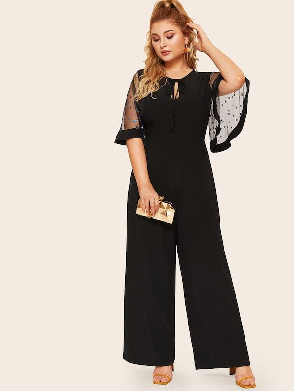 Plus Size Tie Neck Sequin Mesh Flutter Sleeve Wide Leg Jumpsuit