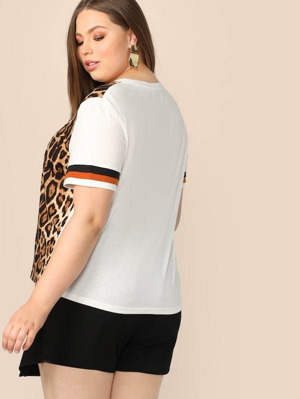 Plus Size Cut-And-Sew Striped And Leopard Top