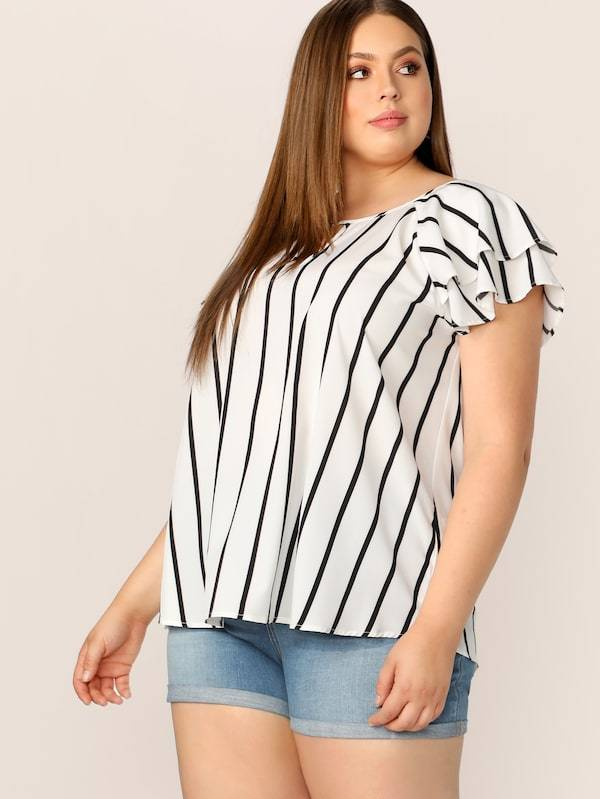 Plus Size V-Cut Front Layered Flutter Raglan Sleeve Top