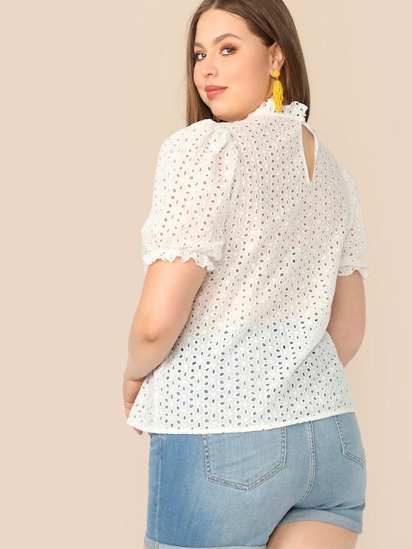 Plus Size Mock-Neck Keyhole Back Schiffy Top
