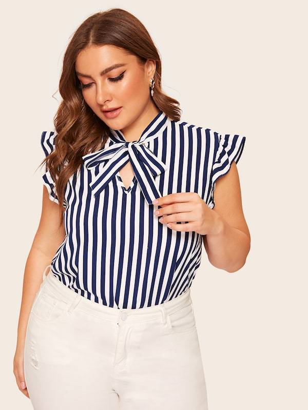 Plus Size Tie Neck Ruffle Armhole Striped Top