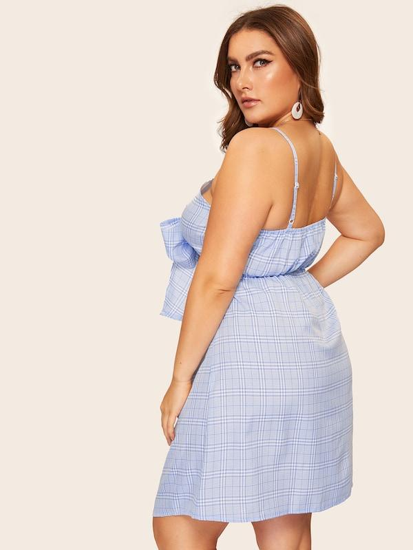 Plus Size Tie Front Plaid Cami Dress