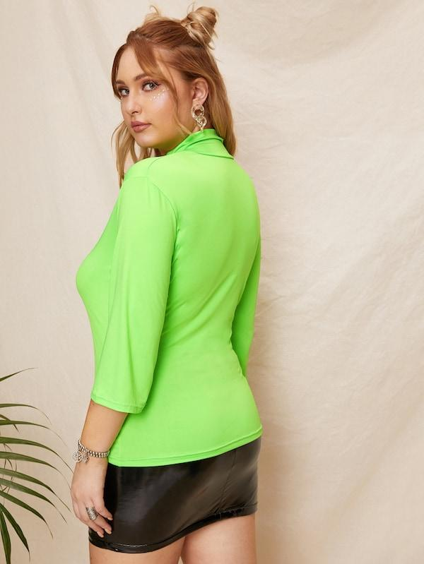 Plus Size High Neck Neon Lime Tee