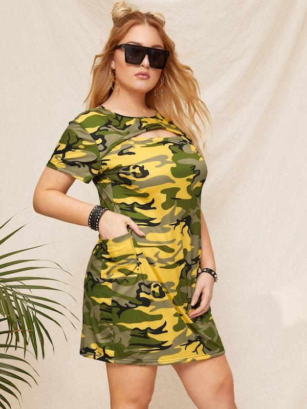 Plus Size Cut-Out Camo Print Dress Without Belted