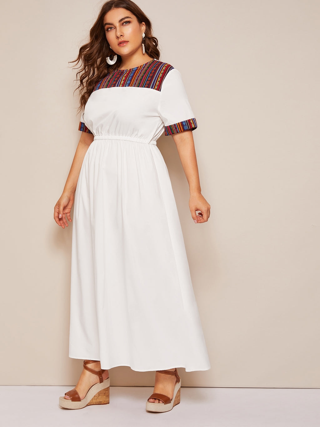 Plus Size Colorful Contrast Elastic Waist Dress