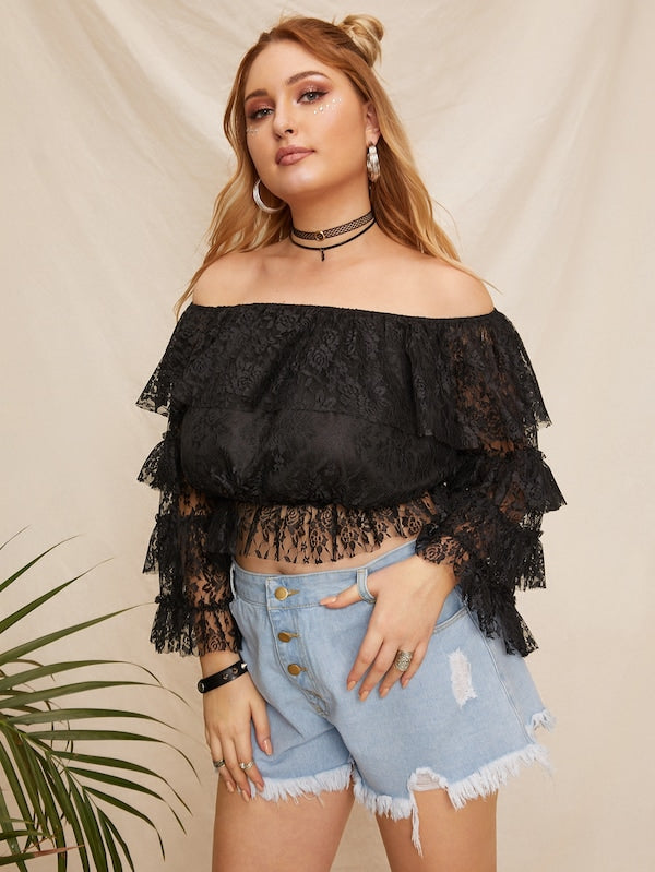 Plus Size Layered Sleeve Off Shoulder Lace Top