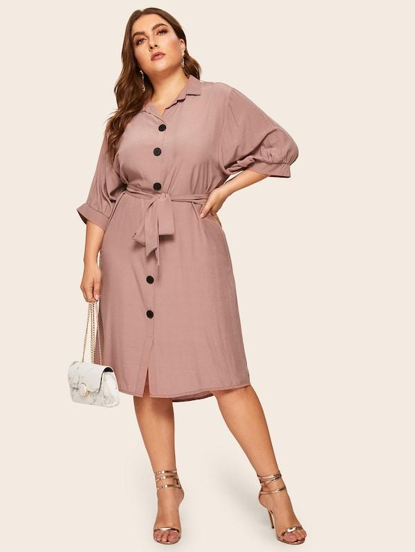 Plus Size Button Through Belted Shirt Dress