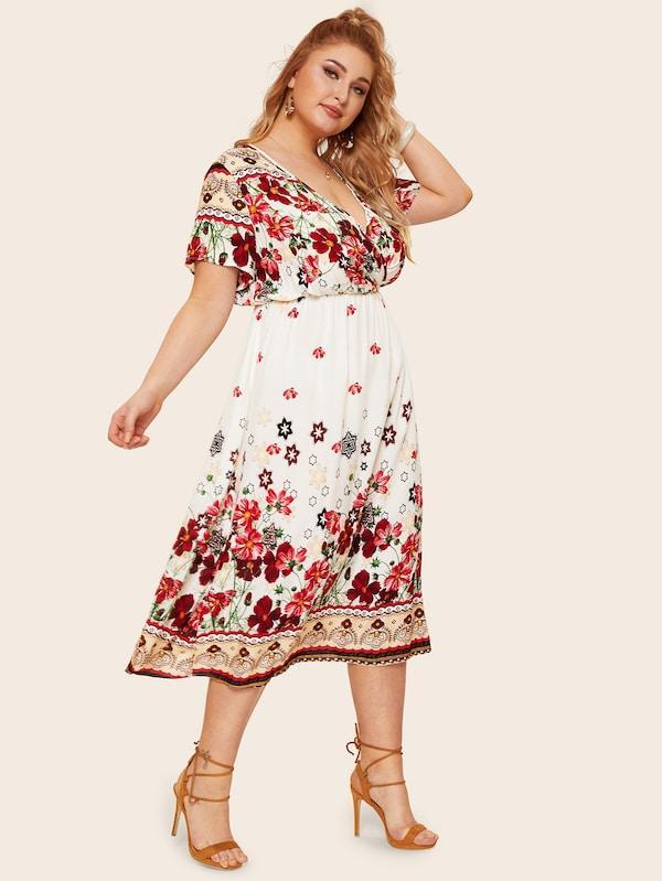 Plus Size Surplice Front Floral Print Dress