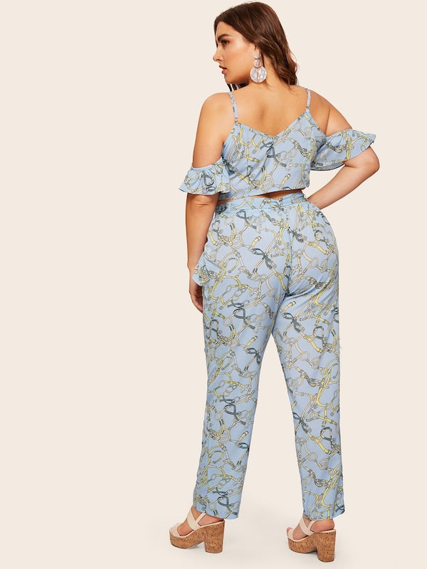 Plus Size Cold Shoulder Chain Print Top With Pants