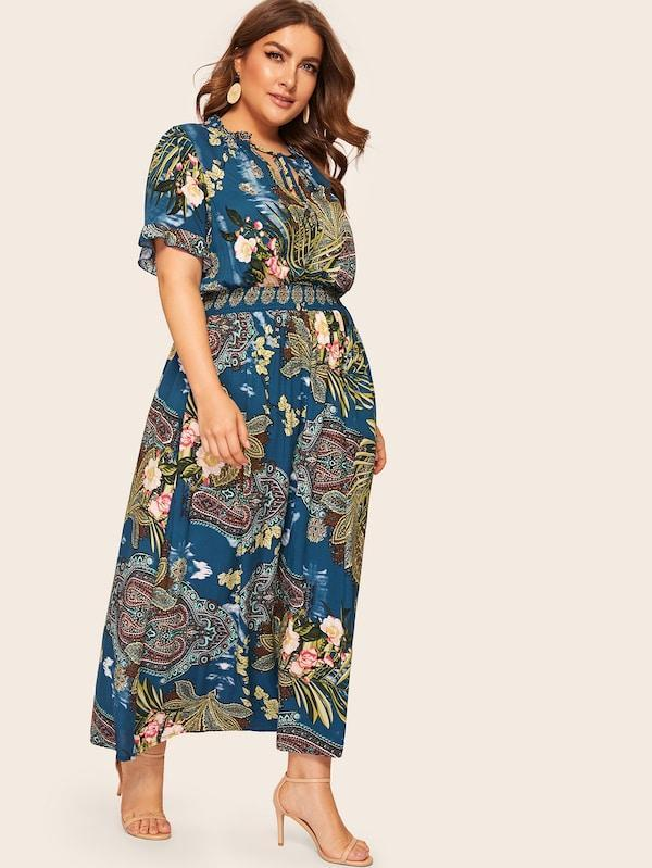 Plus Size Tie Neck Smock Waist Botanical & Paisley Dress