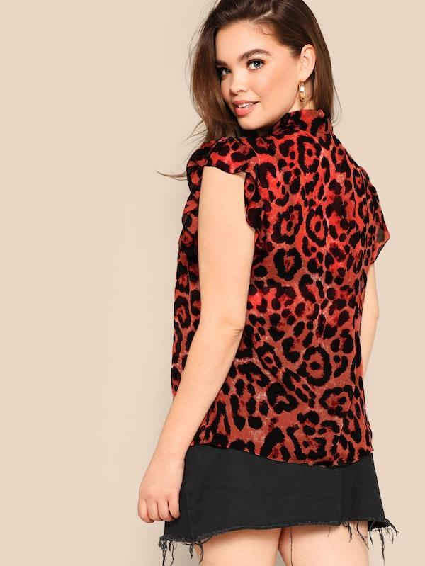 Plus Size Tie-Neck Leopard Ruffle Trim Blouse
