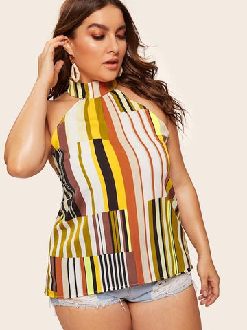 Plus Size Backless Striped Halter Cami Top