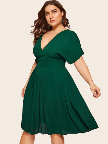 Plus Size Knot Back Plunging Neck Pleated Dress