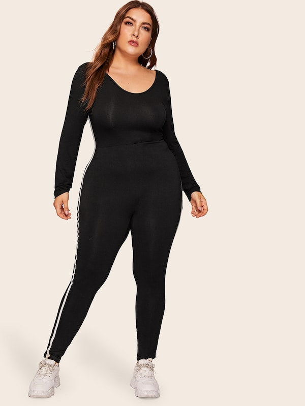 Plus Size V-Back Side Striped Jumpsuit