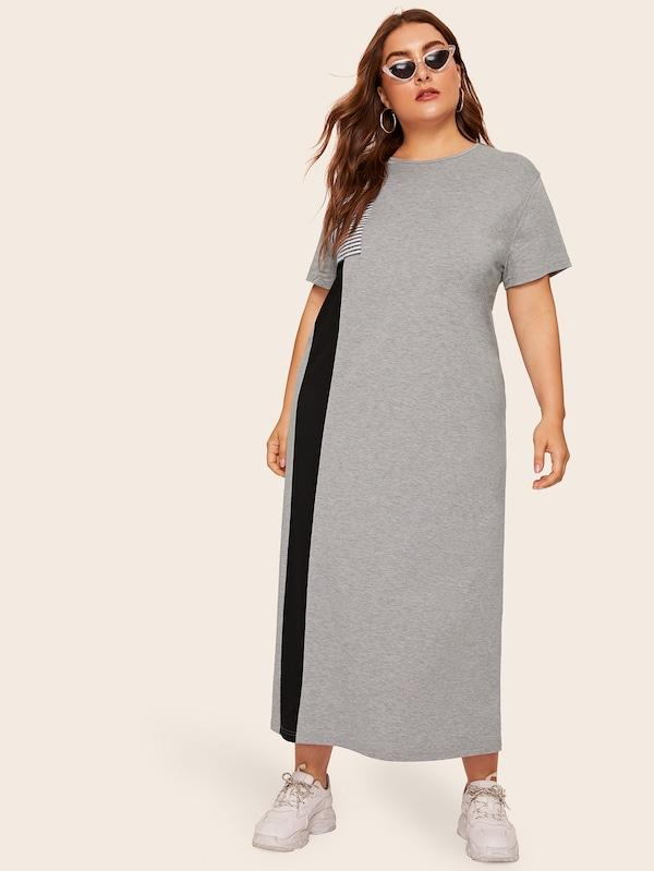 Plus Size Colorblock Striped Flap Pocket Split Side Dress