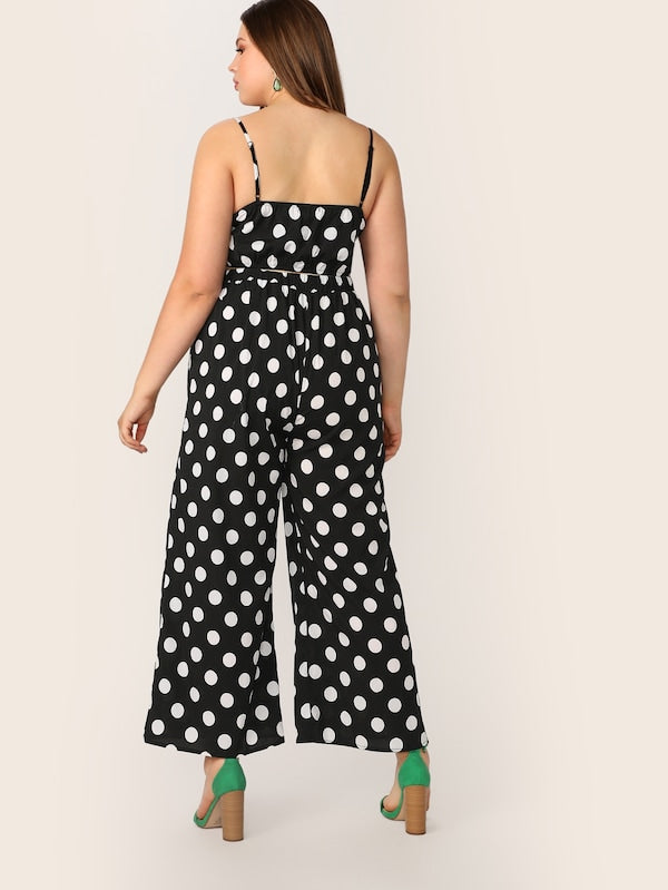 Plus Size Button Front Polka Dot Cami Top & Pants Set
