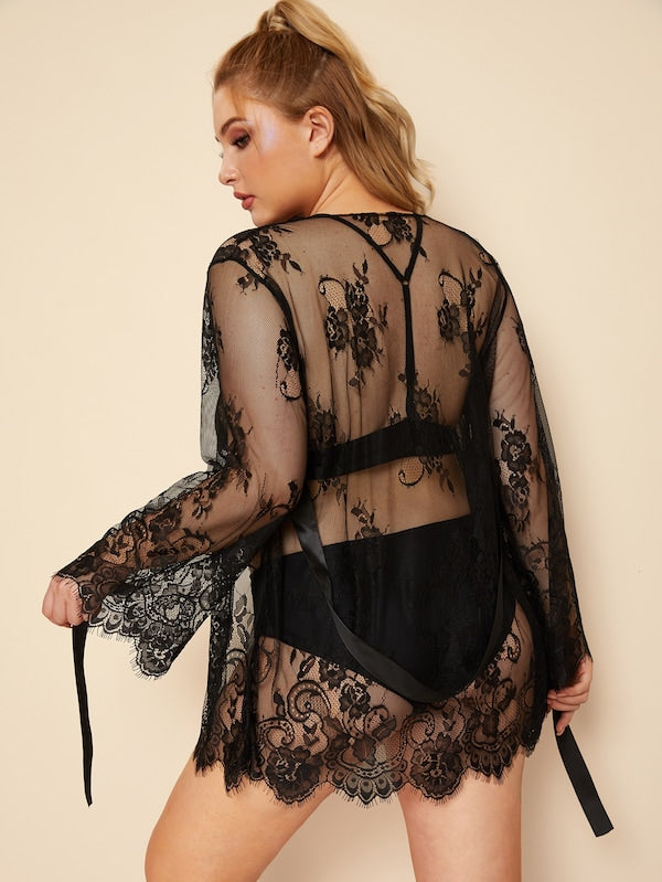 Plus Size Eyelash Lace Sheer Robe With Thong & Belt