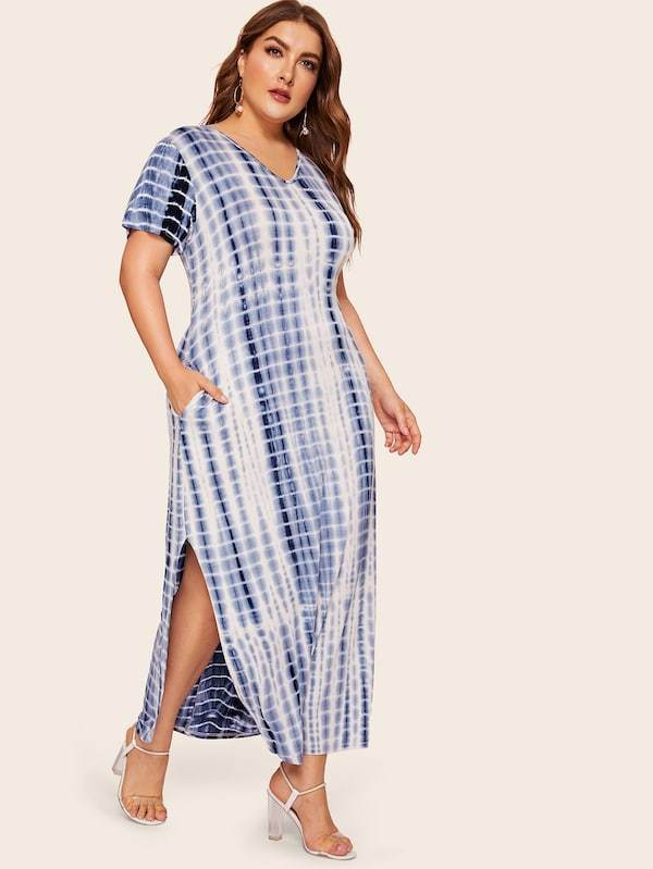 Plus Size Split Side Tie Dye Dress