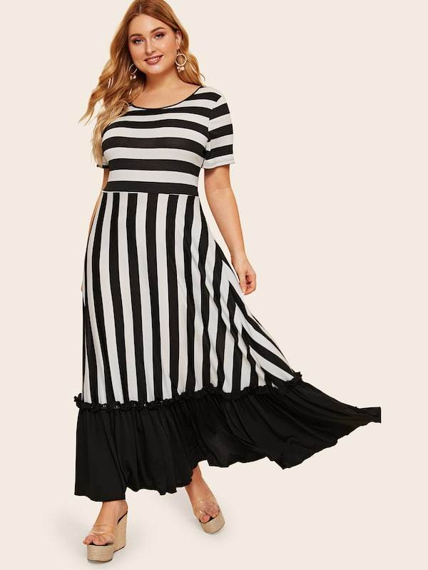 Plus Size Striped Frill Ruffle Hem Dress