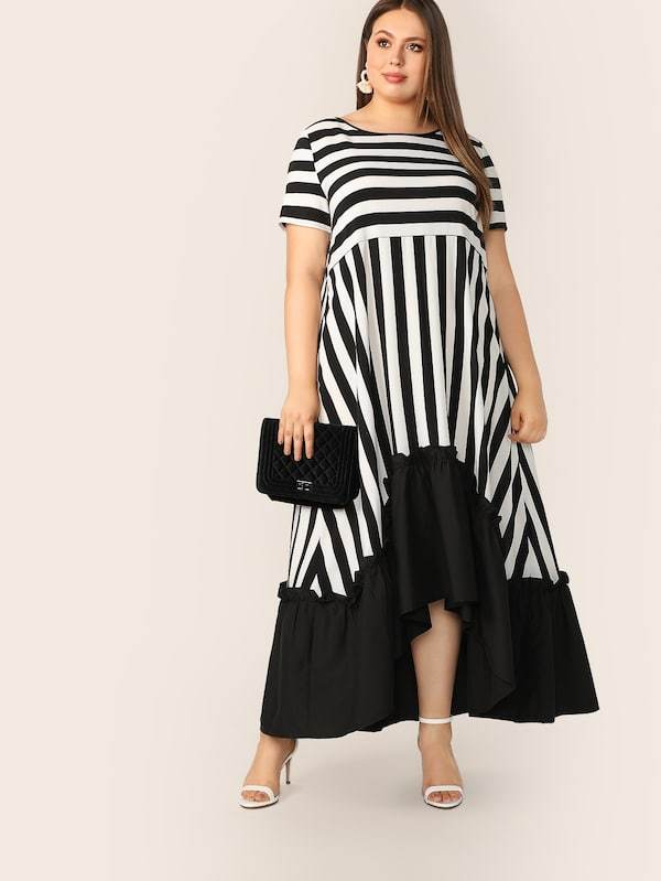 Plus Size High Low Hem Striped Dress