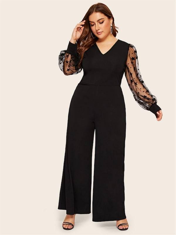 Plus Size Star Mesh Lantern Sleeve Wide Leg Jumpsuit