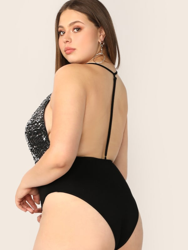 Plus Size Sequin Bodice Backless Halter Bodysuit