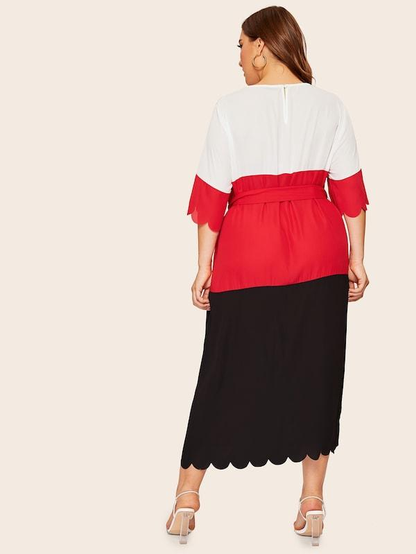 Plus Size Scallop Trim Colorblock Belted Dress