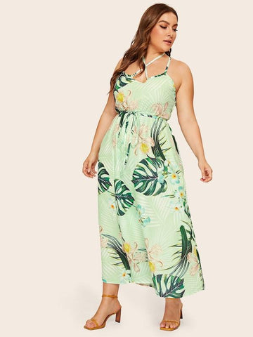 Plus Size Tropical Print Open Back Cami Dress