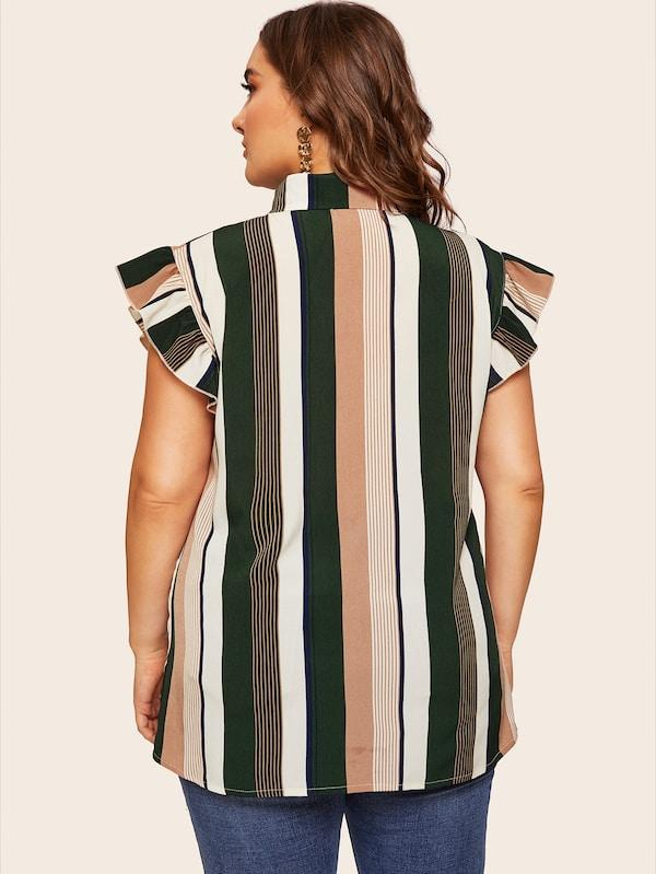 Plus Size Tie Neck Striped Blouse