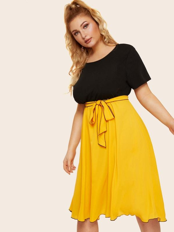 Plus Size Two Tone Self Tie Dress