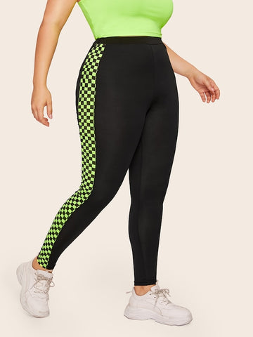 Plus Size Contrast Neon Lime Checkered Leggings