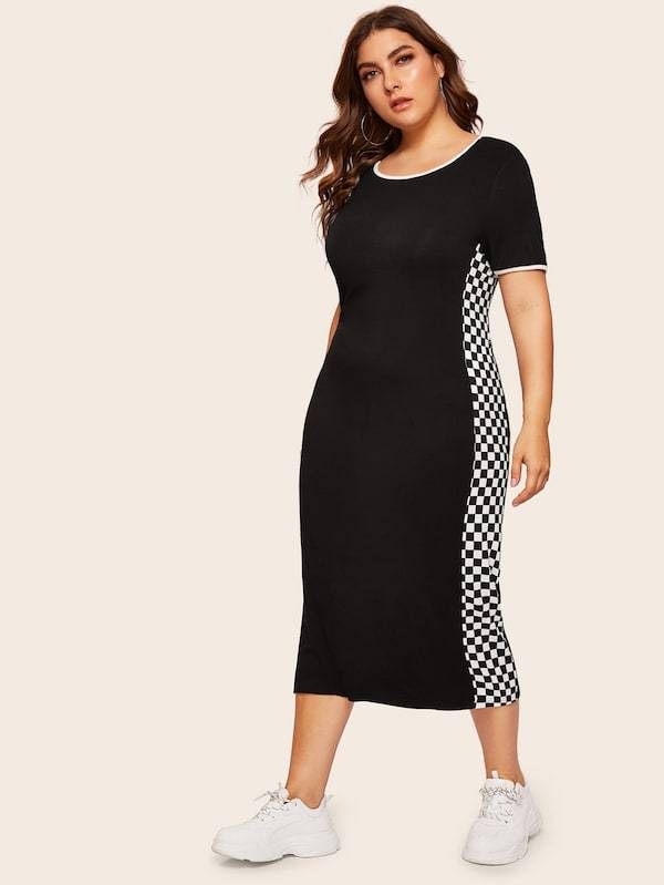 Plus Size Checked Side Ringer Tee Dress