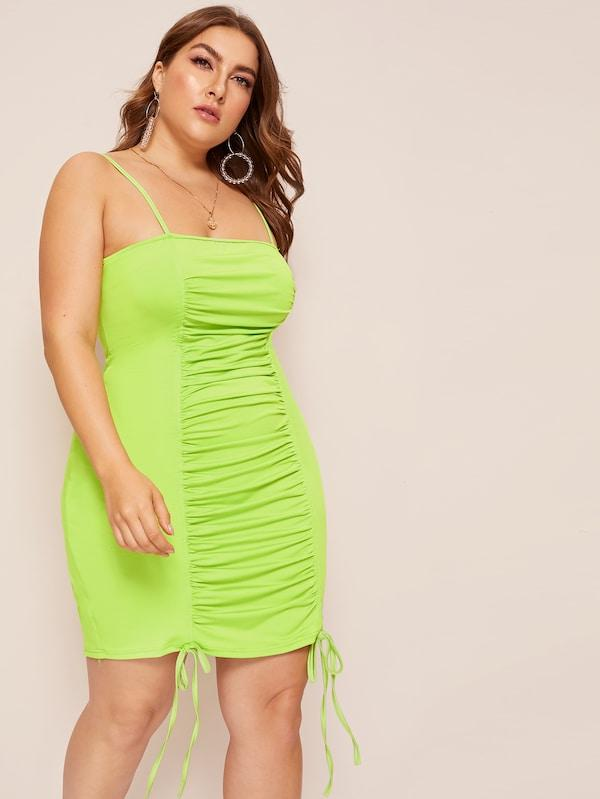 Plus Size Neon Lime Knot Ruched Cami Dress