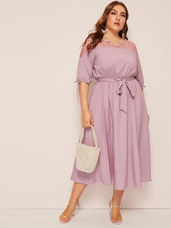 Plus Size Contrast Mesh Knot Cuff Belted Dress