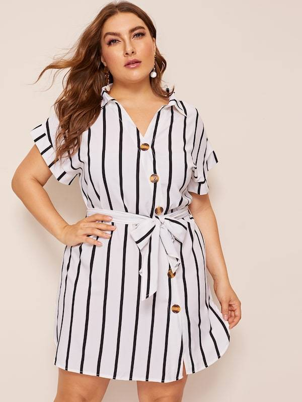 Plus Size Dip Hem Button Belted Shirt Dress