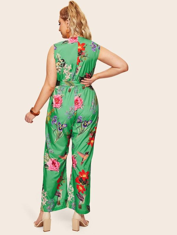 Plus Size Floral Print Surplice Front Self Tie Jumpsuit