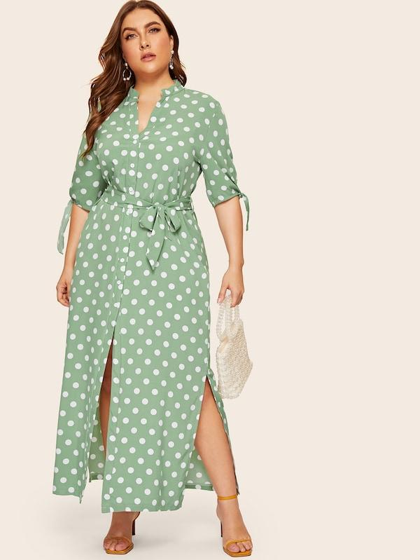 Plus Size Self Tie Polka Dot Slit Hem Shirt Dress