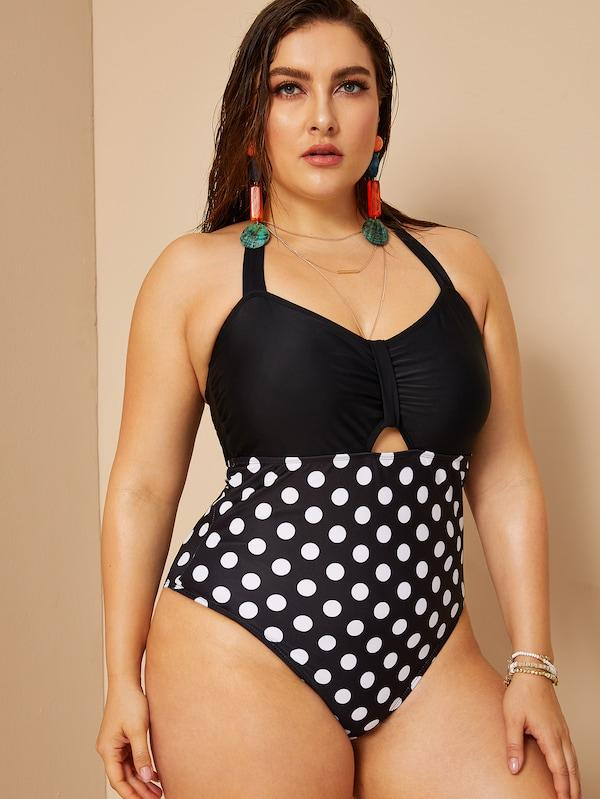 Plus Size Polka Dot Ruched Halter One Piece Swim