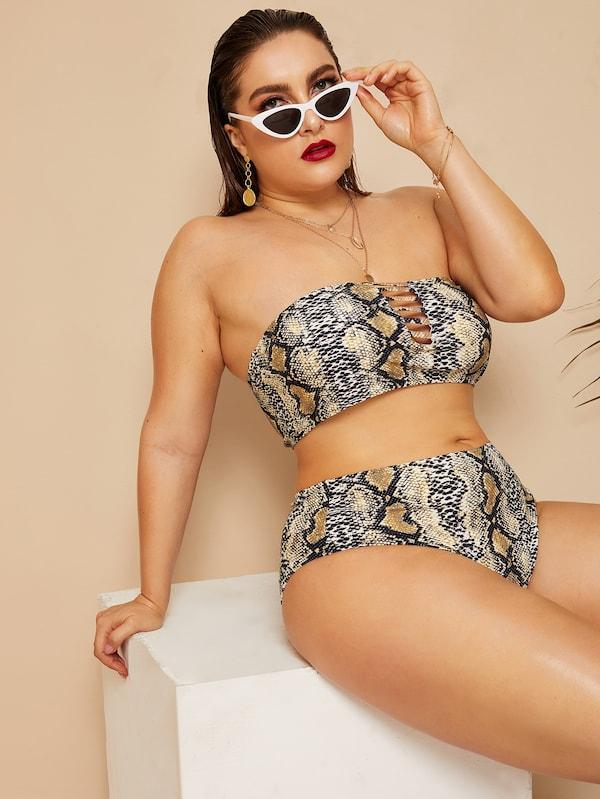 Plus Size Snakeskin Ladder Cut-Out Bandeau With High Waist Bikini