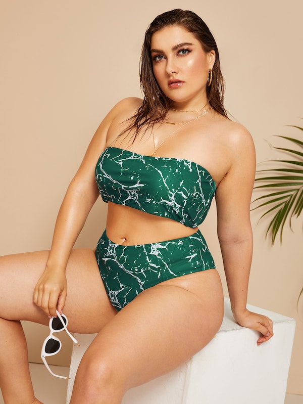 Plus Size Marble Print Bandeau With High Waist Bikini