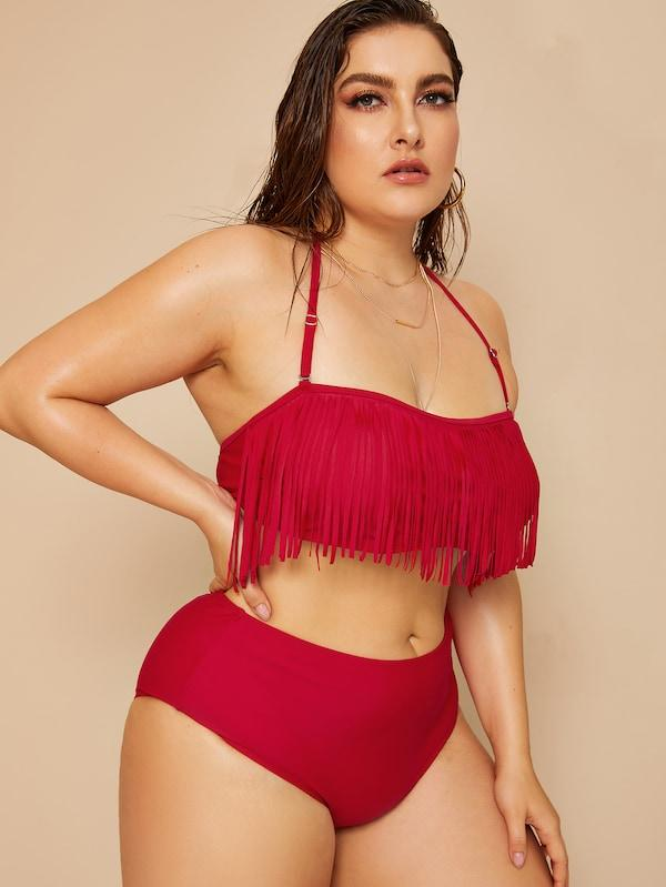 Plus Size Fringe Top With High Waist Bikini