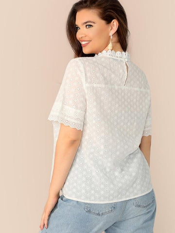 Plus Size Lace Insert Schiffy Top