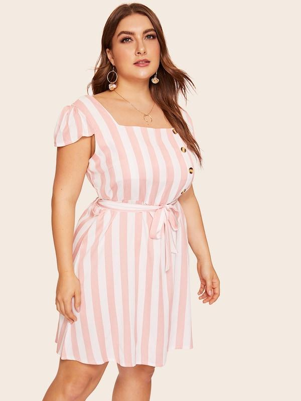 Plus Size Button Striped Belted Dress