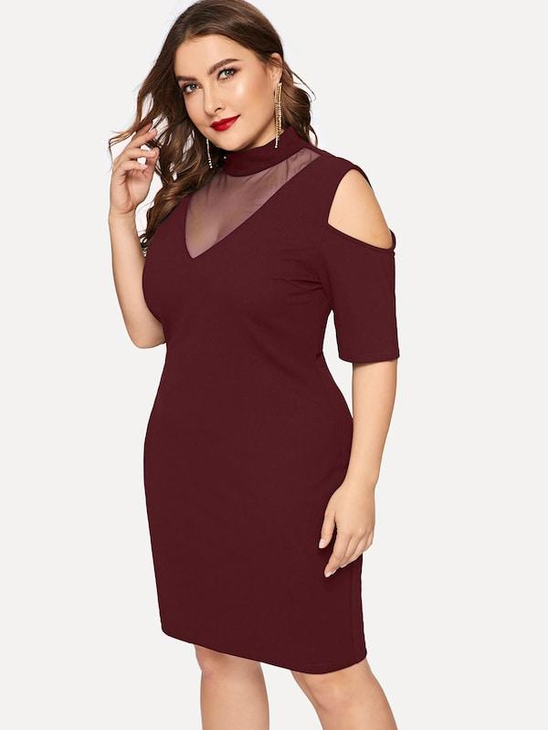 Plus Size Mesh Insert Cold Shoulder Bodycon Dress