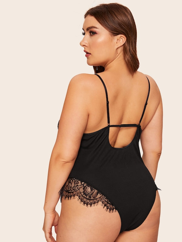 Plus Size Contrast Lace Teddy Bodysuit