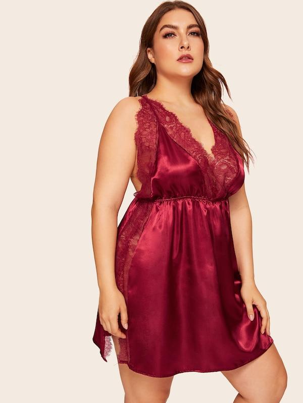Plus Size Lace Trim Split Criss Cross Satin Dress With Thong