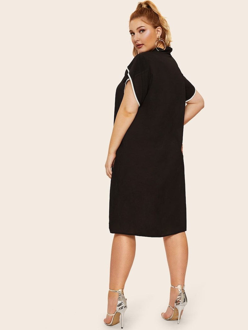 Plus Size Piping Trim Tie Neck Dress