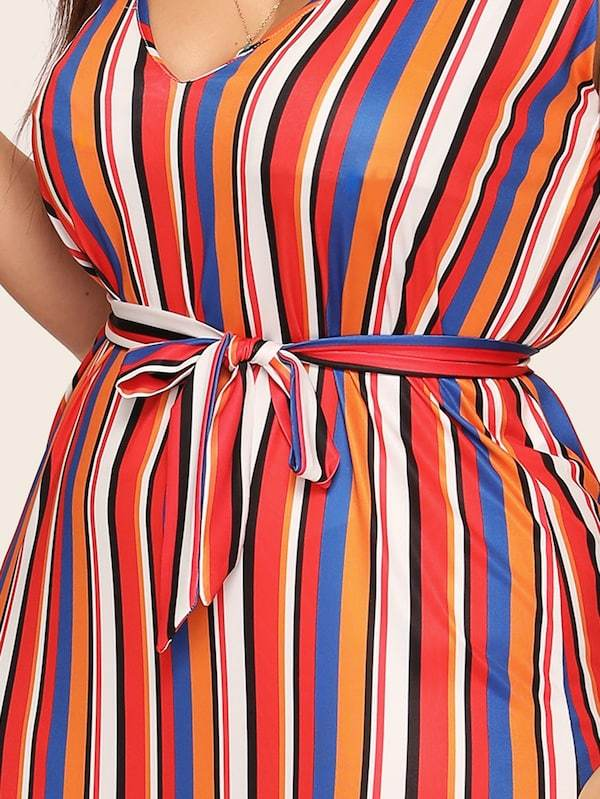 Plus Size Multicoloured Striped Self Tie Cami Dress