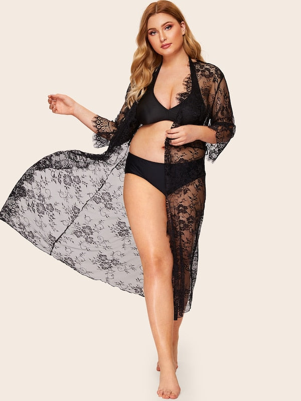Plus Size Eyelash Floral Lace Robe & Belt Without Lingerie Set