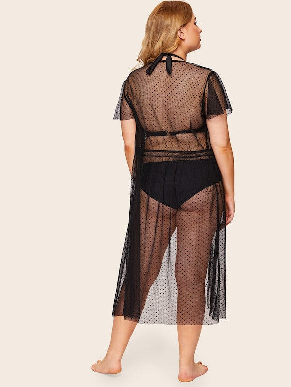 Plus Size Ruffle Mesh Sheer Robe Without Lingerie Set